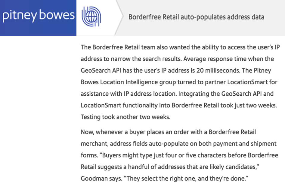 LocationSmart API Helps Pitney Bowes' Borderfree Retail Optimize Online Retail Conversions