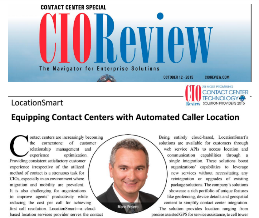 CIO Review Names LocationSmart to 20 Most Promising Contact Center Technology Solutions Providers in 2015